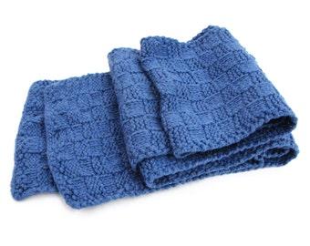 Classic Scarf (Medium Blue) in 100% Yak Wool Down Yarn - 5102