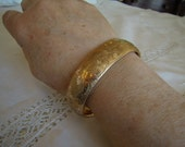 Victorian Buttery Gold-Filled Wide Hinged Bangle Floral Design