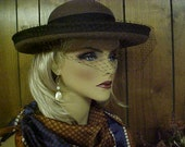 Formal brown wool hat with black band and face veil- fits 22""