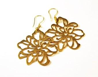 The Tosca Large Vermeil Flower Earrings with Bali Vermeil Earwires