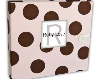 BABY BOOK | Pink and Brown Polka Dot Album | Ruby Love Modern Baby Memory Book