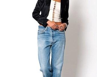 35% OFF SUMMER SALE The Vintage Satin Black Tuxedo Fitted Blazer Jacket