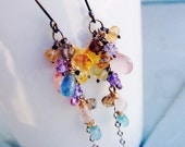 Spring mix Golden Citrine, appetite, pink topaz, tanzanite, vine chandelier waterfall earrings