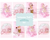 Mermaid ATC Tag Set Digital Download tags, ocean pink girl bubbles mermaid image seashell underwater pearls oyster party gift tags 2.5 x 3.5