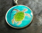 Fiji- Turtle Coin Pendant - Hand Painted