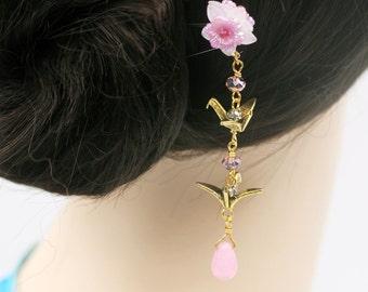Pastel Pink crane hair fork (HF)
