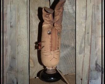 primitive folk art rabbit black vintage porcelain doorknob make do rusted pins vintage tag HAFAIR OFG faap