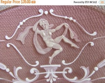 Fab Feb SALE 30% off Antique French Venetian Cranberry Art Glass Neoclassic Mary Gregory Style Enamel Roman Cameo Nude Plate