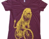 Ladies T Shirt - LION on a Bicycle - Tri-Blend Track T - Tri-Cranberry