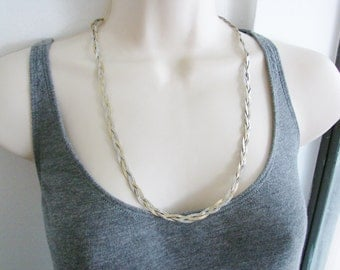 Vintage long silver and gold braided chain necklace