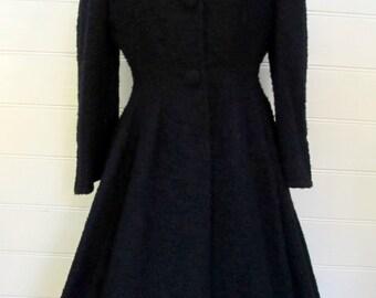 Vintage 1950s 50s Black Wool LILLI ANN PRINCESS Coat