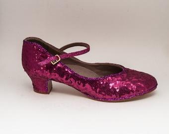 Tiny Sequin | Hot Fuchsia Pink Character High Heels Pumps Shoes