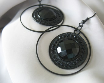 Circle Hoop Earrings Black Victorian Modern Faceted Stones Large Circles Dangles