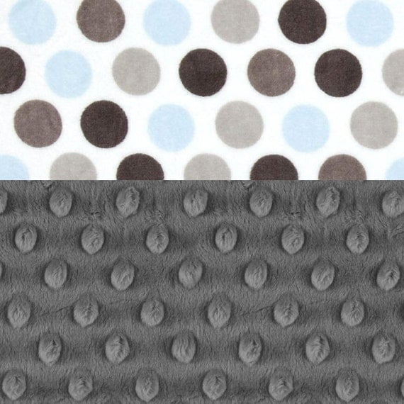 Personalized Baby Blanket Boy - Baby Lovey Boy Lovey Blanket Charcoal Gray Blue Dots Mini Minky Baby Blanket - Baby shower gift - Baby Boy