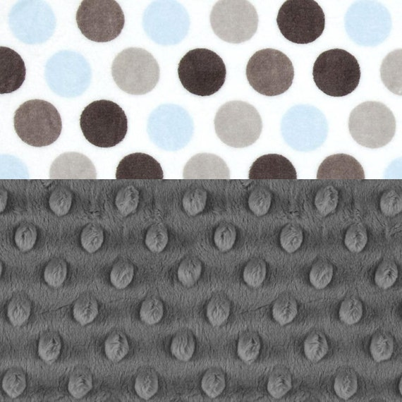 Personalized Baby Blanket - Lovie -Minky Boy Baby Lovey Blanket, Charcoal Gray Blue Dots Mini Baby Blanket