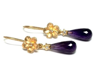 Amethyst and Gold Vermeil earrings - elegant, stylish, boho, exlusive, handmade, great gift, rocker, womans earrings - free shipping