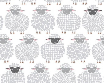 Wool Ewe Be Mine Sheep Fabric- Cotton By the Yard- Sheepish Grin White and Grey