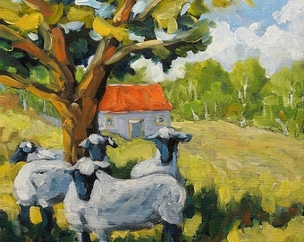 On Sale Sheep and Shade - Farm Landscape - mini Original Oil Painting created by Prankearts