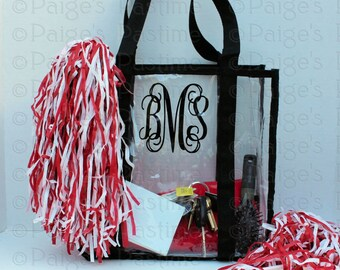 Clear Stadium Tote - Transparent Tote - Clear Tote - Personalized Clear Tote - SEC and NFL Guideline Approved Tote - Game Day Clear Tote