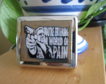 Lebowski Your Entering A World Of Pain 8 Day Pill Box with Mirror