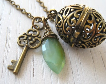 SALE - Antique Brass Floral Wish Ball Locket and Genuine Peruvian Opal on Long Chain