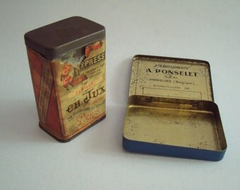 2 Vintage Tins, Vanilla from Paris, and Tin from Belgium