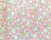 Vintage Feedsack Fabric Animal Theme Pink Cotton Material Fox Horse Goose Elephant