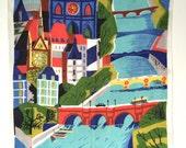 Vintage Souvenir Towel PARIS Air France Travel Poster Vernier Artist Seine River