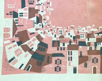 Vintage Tablecloth Town Buildings Pink Brown Midcentury Modernist Design RARE