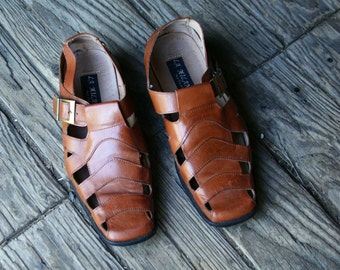 Vintage Sandals Mens Leather Italian Made La Milano US Mens Size 11 Vintage From Nowvintage on Etsy
