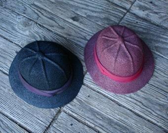 Vintage Safari Hat Choose Blue or Plum Vintage From Nowvintage on Etsy