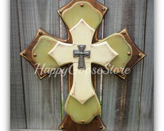 Wall Cross - Wood Cross - Medium - 3-layer - Brown Stain, Antiqued Sage Green and Beige