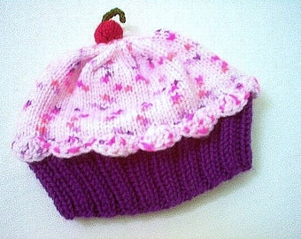 Handmade hand knit Cupcake Hat with Cherry on Top Deep Dark Plum Eggplant Purple Cake with Strawberry Sprinkle Frosting