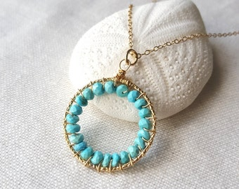 Sleeping Beauty Turquoise hoop necklace-- 14k gold filled wire wrapped Sleeping Beauty Turquoise pendant necklace