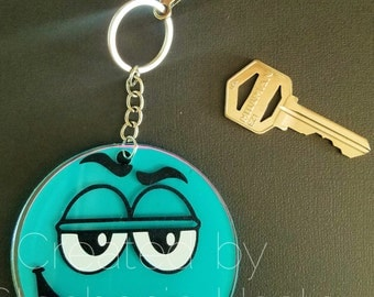 """Turquoise and Pink goofy face 3"""" keychain"""