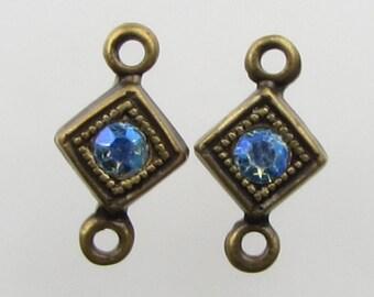 Vintage Bead Drop Swarovski Crystal AB Rhinestone Connector Aurora Borealis Link Antiqued Brass Charm uvf0804 (2)