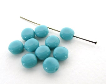 Vintage Beads Turquoise Blue Green Glass Flattened Rounds 8mm vgb1065 (10)