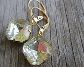 Vintage Clear Crystal Earrings, 12 mm square cushion, Old Patina Antique