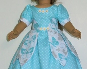 Teal Petal style dress designed for American Girl 18 inch doll   No. 667
