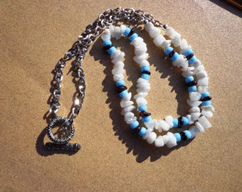 Snow Quartz Necklace, Gemstone Chips with Blue Glass Beads and Garnet Gemstone Chips, 26 Inches, Prosperity Stone, Love Stone, Toggle Clasp