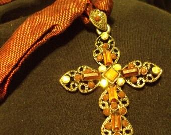 Vampiress Silver and Burgundy Gothic Pendant Cross Rhinestones ribbon necklace Vintage