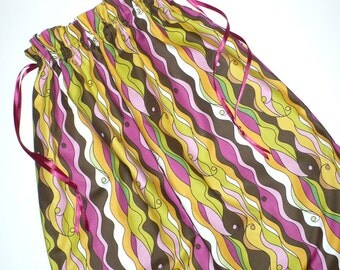 Laundry bag, Retro, Pink, Lime, Brown, drawstring bag, cotton, storage bag, SALE