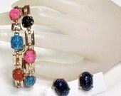 Egyptian Carved Scarab Bracelet, Earring Set, Multi-Colored Glass, Vintage 50s