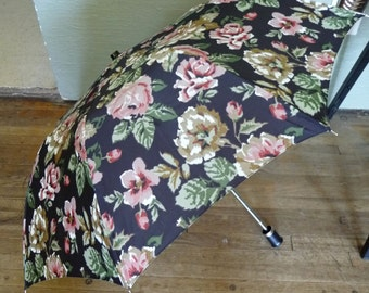 Vintage Flower Umbrella, Vintage Umbrella, MOM, Rain Umbrella, Umbrella with Bag, Black Umbrella, Womens Accessories, Matching Pouch, Unique