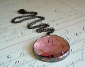 Rose Quartz  Faceted Glass Necklace Clear Geometric Stained Glass Jewelry New