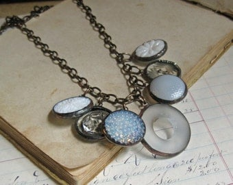Glass Button Charm Long Necklace Statement Jewelry One of a Kind White