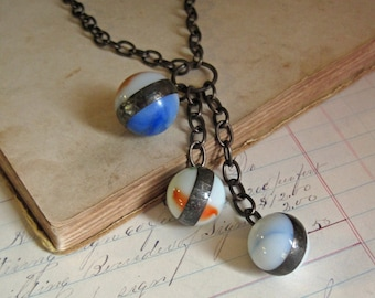 Marble Trio Pendant Necklace Charm Jewelry