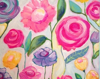 Flower Painting, Girl's Room, Original Painting 11x14 Canvas, Pink, Yellow, Purple