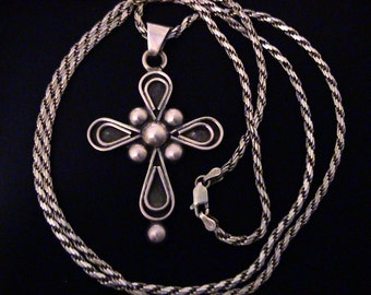 Vintage BERNICE GOODSPEED Sterling Mexico Cross Pendant Necklace