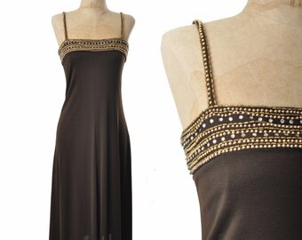 vintage 70s dress / studio 54 dress / beaded 1970s dress ..  xxs - xs